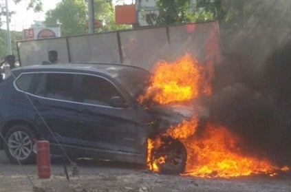 BMW car suddenly erupted into fire in Kolathur, Chennai