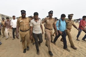 Protesters on Chennai Marina against Centre on Cauvery issue arrested